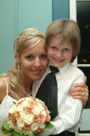 Me with my cousin Yannik (aka ring bearer/mini-groomsman) on my wedding day in 2006